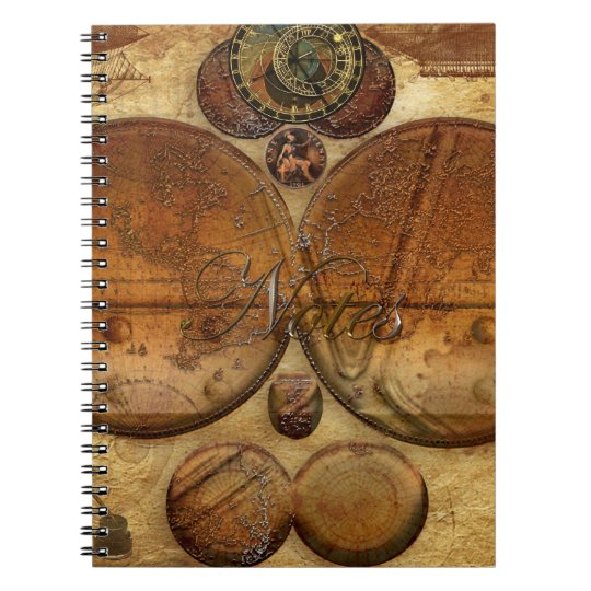 Vintage Victorian Steampunk Artwork on a Notebook