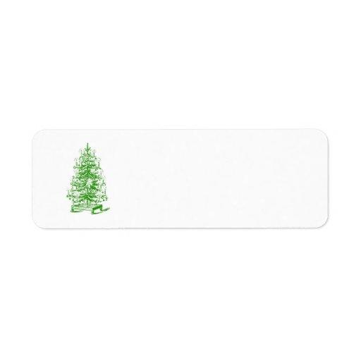 Vintage Victorian Steampunk Christmas Tree Holiday Return Address Labels