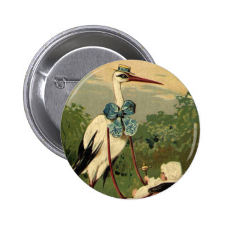 Vintage Victorian Stork and Baby Carriage Button