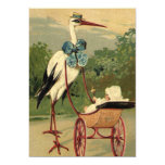Vintage Victorian Stork and Baby Carriage Card