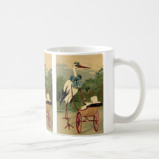 Vintage Victorian Stork and Baby Carriage Coffee Mug