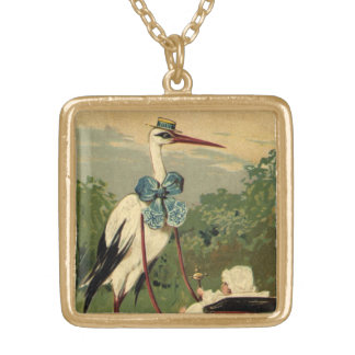 Vintage Victorian Stork and Baby Carriage Gold Plated Necklace