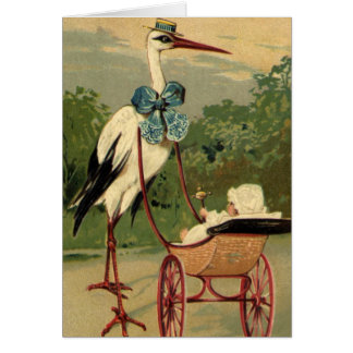 Vintage Victorian Stork and Baby Carriage Greeting Card