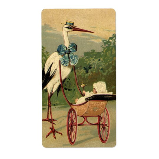 Vintage Victorian Stork and Baby Carriage Label