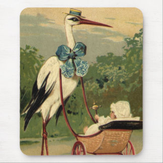 Vintage Victorian Stork and Baby Carriage Mouse Pad