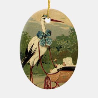 Vintage Victorian Stork and Baby Carriage Christmas Tree Ornaments