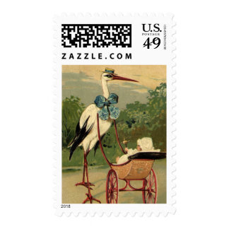 Vintage Victorian Stork and Baby Carriage Postage
