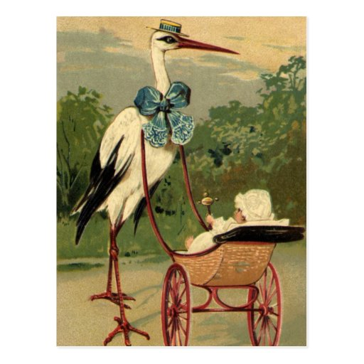Vintage Victorian Stork and Baby Carriage Postcards