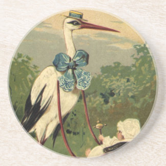 Vintage Victorian Stork and Baby Carriage Sandstone Coaster