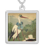 Vintage Victorian Stork and Baby Carriage Square Pendant Necklace