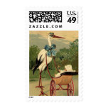 Vintage Victorian Stork and Baby Carriage Stamps