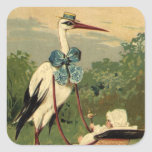 Vintage Victorian Stork and Baby Carriage Square Stickers
