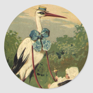 Vintage Victorian Stork and Baby Carriage Stickers