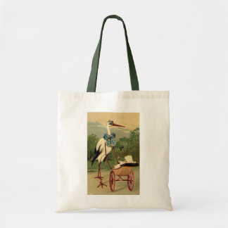 Vintage Victorian Stork and Baby Carriage Tote Bag