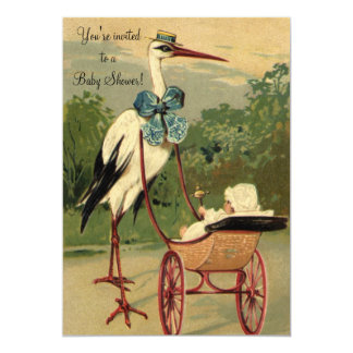 Vintage Victorian Stork Baby Shower 5x7 Paper Invitation Card