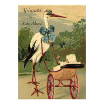 Vintage Victorian Stork Baby Shower Personalized Invite