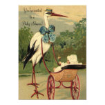 Vintage Victorian Stork Carriage Baby Shower Card