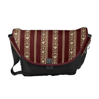 vintage victorian stripe red  gold messenger bag