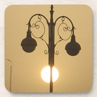 Vintage Victorian Sunset street light.png Beverage Coaster