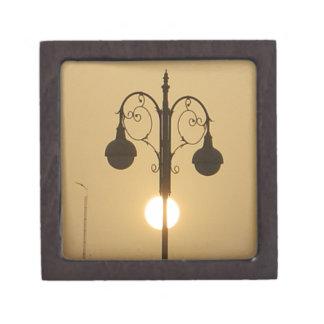 Vintage Victorian Sunset street light.png Keepsake Box