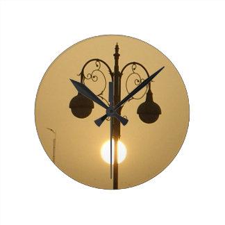 Vintage Victorian Sunset street light.png Round Clock