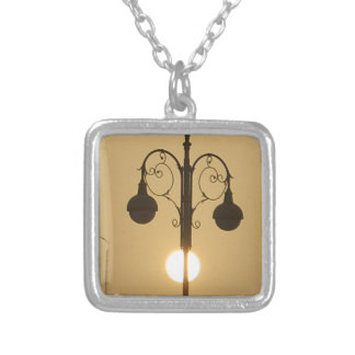 Vintage Victorian Sunset street light.png Silver Plated Necklace