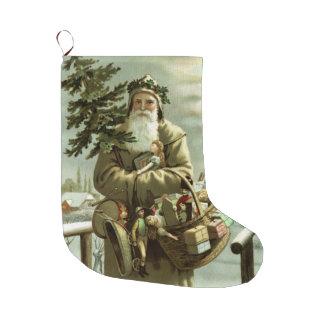 Vintage Victorian Swedish Santa Claus Baring Gifts Large Christmas Stocking