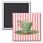 Vintage Victorian Tea Cup 2 Inch Square Magnet