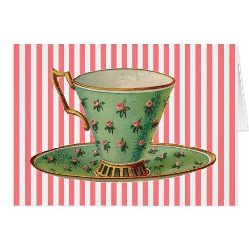 Vintage Victorian Tea Cup Card