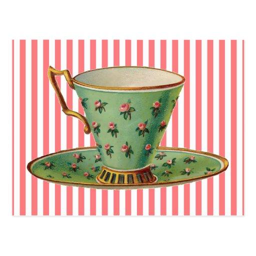 Vintage Victorian Tea Cup Postcard