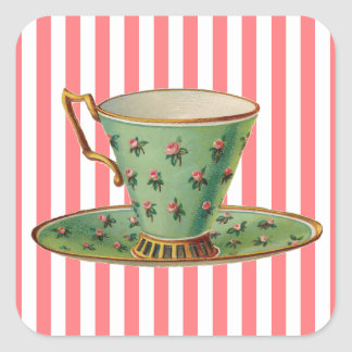 Vintage Victorian Tea Cup Square Sticker