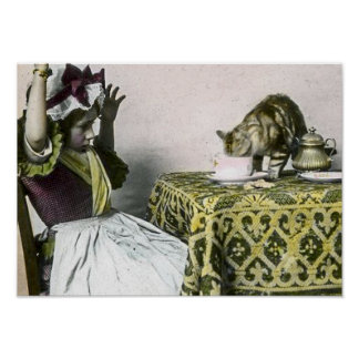 Vintage Victorian Tea Party for Two Bad Cat Poster