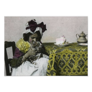 Vintage Victorian Tea Party for Two Lovely Kitty Poster