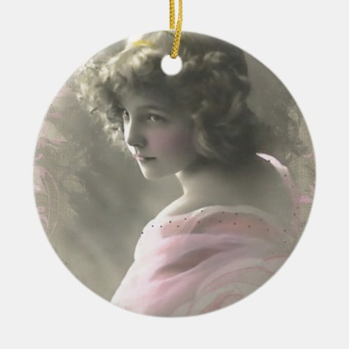 Vintage Victorian Teenage Girl in Pink Ceramic Ornament