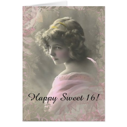 Vintage Victorian Teenage Girl Pink Greeting Card
