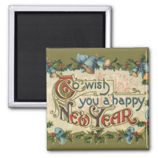 Vintage Victorian, To Wish You a Happy New Year 2 Inch Square Magnet
