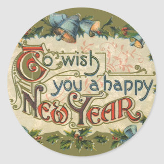 Vintage Victorian, To Wish You a Happy New Year Classic Round Sticker