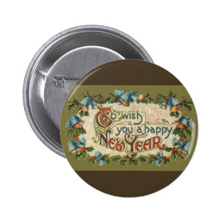 Vintage Victorian, To Wish You a Happy New Year Pinback Button