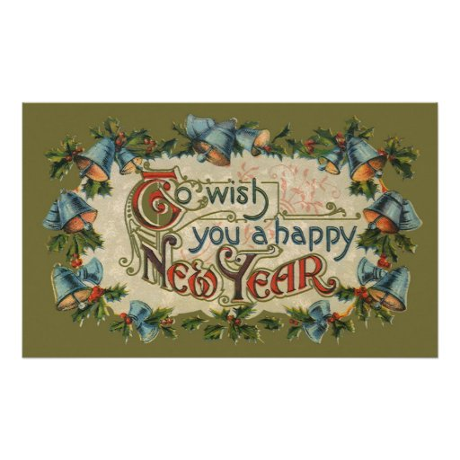 Vintage Victorian, To Wish You a Happy New Year Poster