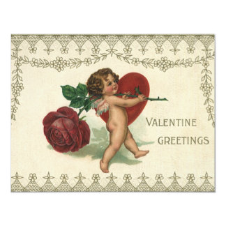 Vintage Victorian Valentine Cherub, Rose and Heart Card