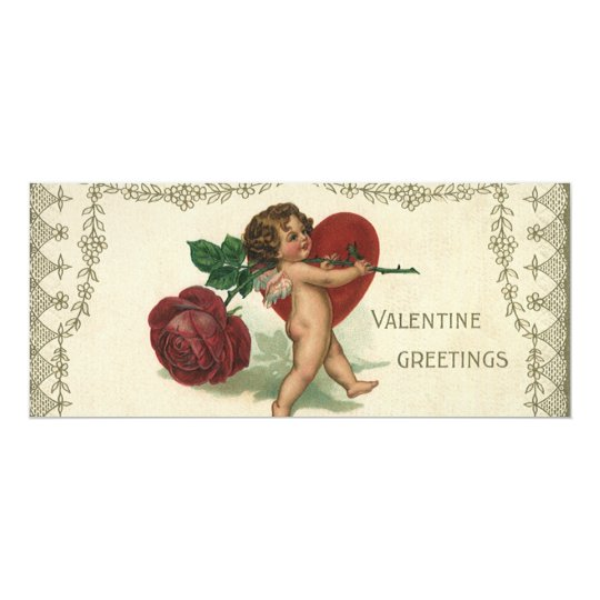Vintage Victorian Valentine Cherub, Rose and Heart Card