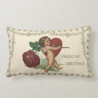 Vintage Victorian Valentine Cherub, Rose and Heart Lumbar Pillow