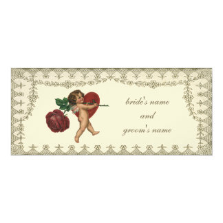 Vintage Victorian Valentine Cupid Red Rose Heart Card