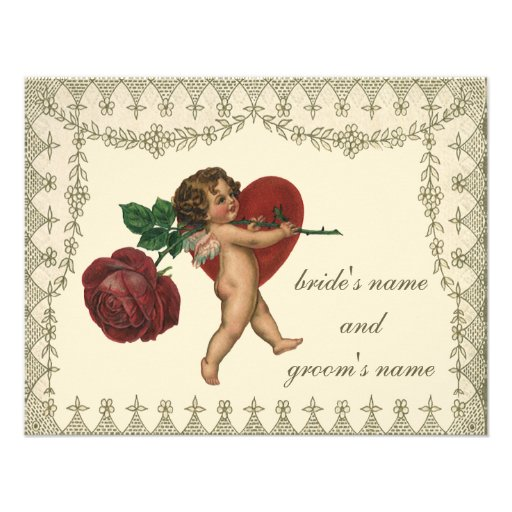 Vintage Victorian Valentine Cupid Red Rose Heart Personalized Invitation