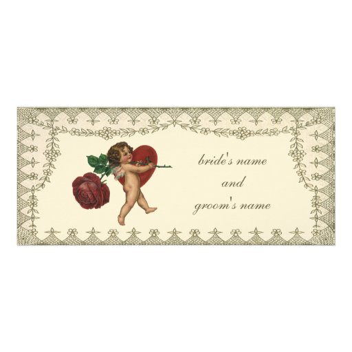 Vintage Victorian Valentine Cupid Red Rose Heart Personalized Announcement