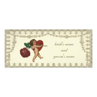 Vintage Victorian Valentine Cupid Red Rose Heart 4x9.25 Paper Invitation Card