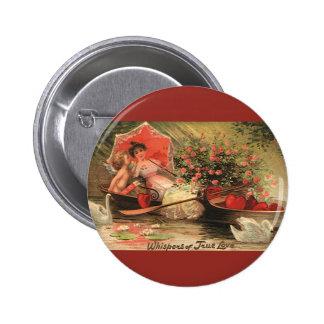 Vintage Victorian Valentine Day Cherub with Hearts Pinback Button