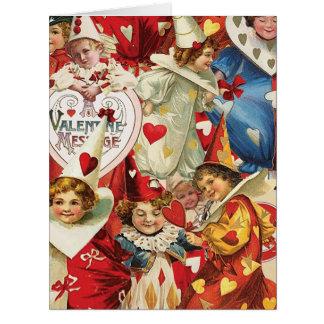 Vintage Victorian Valentine Jesters Greeting Card
