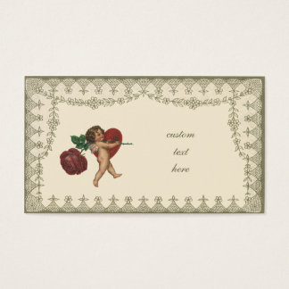 Vintage Victorian Valentines Angel, Red Rose Heart Business Card