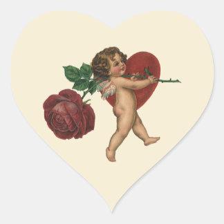 Vintage Victorian Valentines Angel, Red Rose Heart Heart Sticker